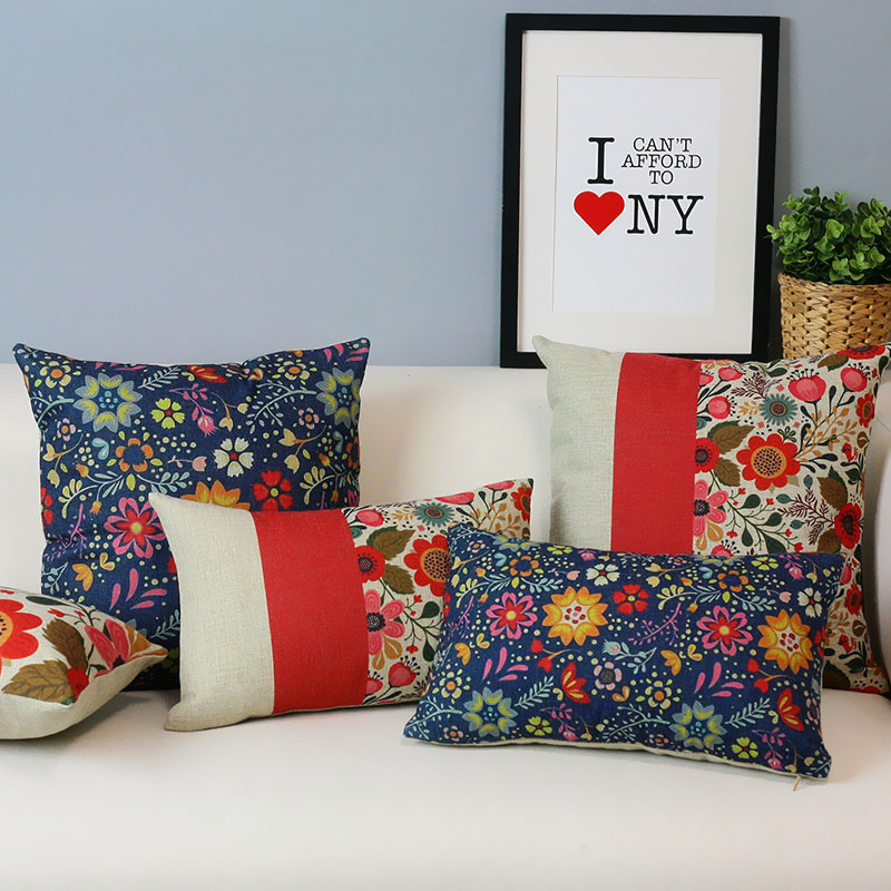 Fresh Garden Floral Pillow S American Country Red Pillow