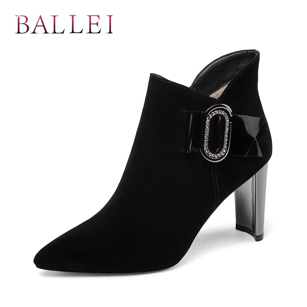 Ballei Chico Clásico Vintage Puntiagudos Sexy Tobillo Arranque Black Mano Hecho B175 A Elegante Sólido Mujer Gamuza Invierno Botas De Zapatos Tacón Delgado zwrzq8Ux