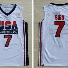 6add5dba0656 Ediwallen Men 7 Larry Bird Jersey Navy Blue White Basketball 1992 USA Dream  Team One Jerseys
