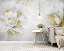 Купить с кэшбэком Beibehang wallpaper modern minimalist garden flower golden rose TV background wall living room bedroom decoration 3d wallpaper
