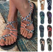 цены на Summer White Flat With Hemp Shoes Female Sandals Open Toe Gladiator Sandals Women's Casual Lace Women's Flat Sandals  в интернет-магазинах