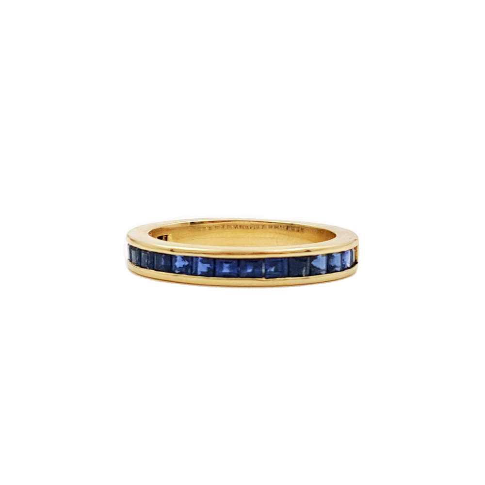 Lii Ji 14 k or mode Simple saphir naturel bague CN taille 13.5