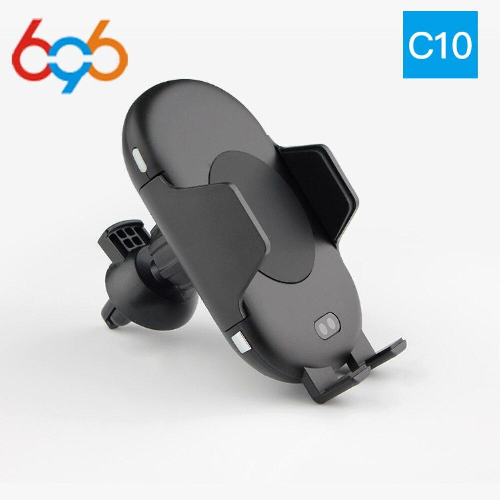 696 C10 QI Schnelle Drahtlose Auto Ladegerät 10 watt Automatische Infrarot Induktions Air Vent Auto Telefon Halter für iPhone Samsung schnelle lade