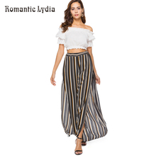 Boho Vintage Ethnic Wide Leg Pants Women Chiffon Loose Embroidery High Split New Arrival 2018 Summer Harem Pants Beachwear(China)