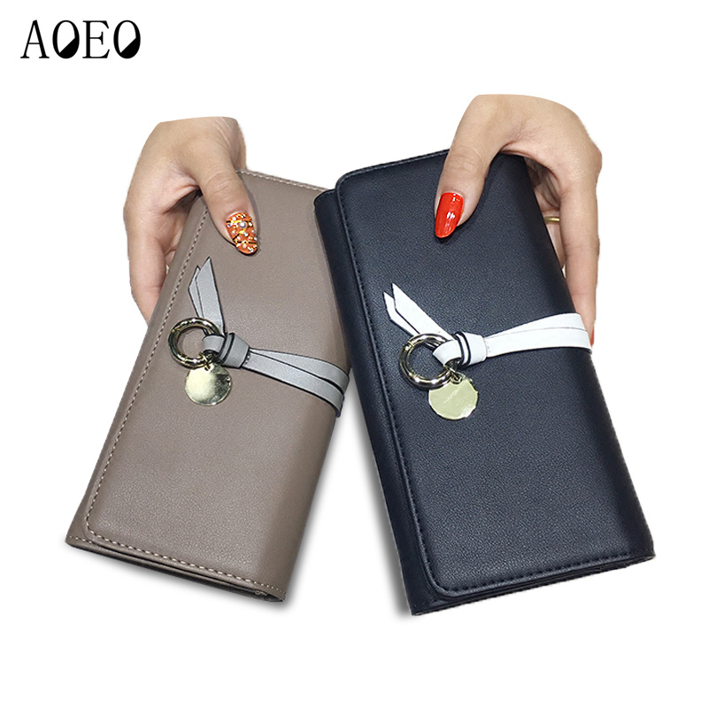 AOEO Black Woman Wallet Female Wristlet Slim 9 Card Holder Pu Leather Ladies Travel Purse Cute Phone Money Cash Coin Bag Wallets large capacity women wallet leather card coin holder money clip long clutch phone wristlet trifold zipper cash female purse