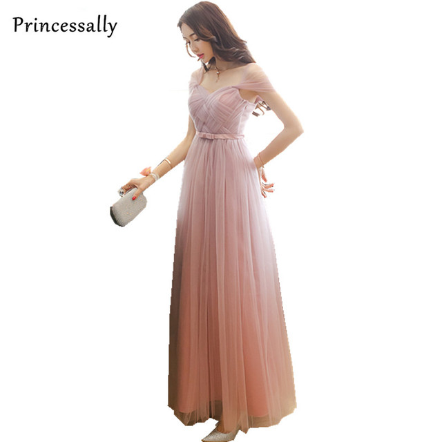 Dusty Pink Bridesmaid Dresses Long Elegant Cap Sleeve Sweetheart Peach Pink  Prom Party Gown Vestido De Noiva Robe Soiree Mariage