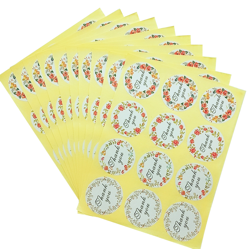 120pcs/lot Small Fresh Thank You Paper Decorative Seal Sticker For Gifts