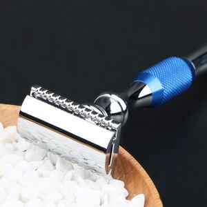 Image 4 - Мужская Безопасная бритва HAWARD с двойным краем, Классическая Ручная бритва из цинкового сплава с длинной ручкой, синяя бритва с 10 лезвиями
