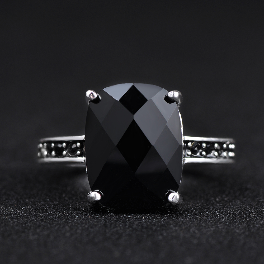 AENINE Party Jewelry Top Quality Blackstone Single Black Crystal Cocktail Ring Jewelry Free Shipping TS-RI087