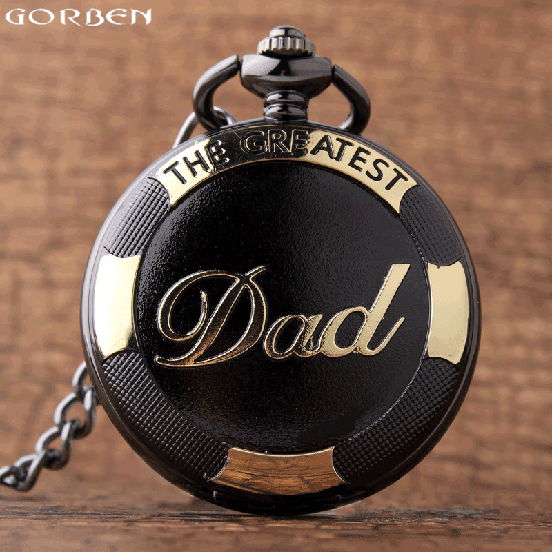 New Arrival Luxury Gold Black The Greatest Dad Pattern Quartz Pocket Watches Fob Chain Necklace Watch Pendant Father Gifts Clock free shipping 3 pp eyeliner liquid empty pipe pointed thin liquid eyeliner colour makeup tools lfrosted purple