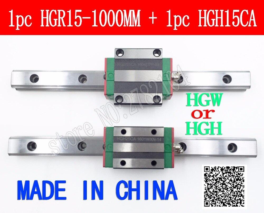 Neue linearführungsschiene HGR15 1000mm lange mit 1 stücke lineare block wagen HGH15CA HGH15 HGW15 CNC teile