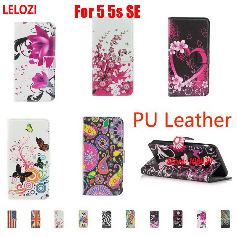 LELOZI Painted PU Leather Leathe Filp Wallet Case Bag Capinha For iPhone 5 5s SE Lotus Meteor Vintage Butterfly Flower