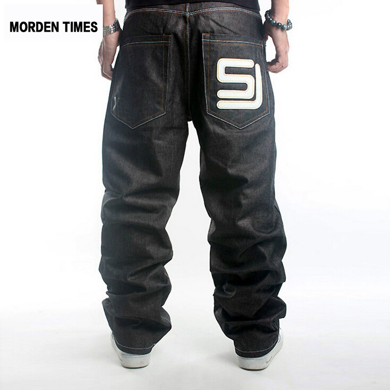 New Mens Fashion Cotton Hip Hop Pants Brand Hip-hop Skateboard Jeans Loose Baggy Denim Trousers Plus Size 30-46