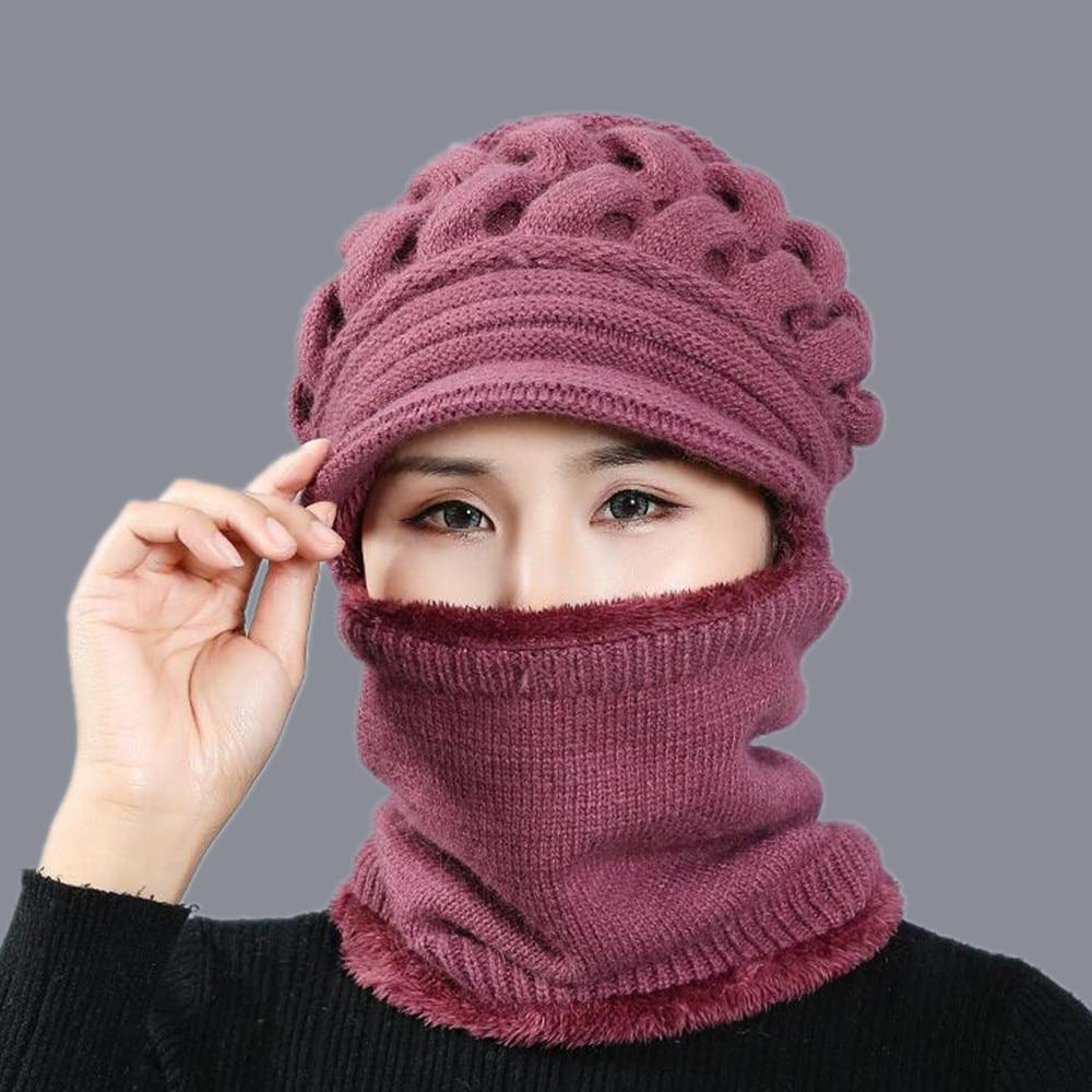 Winter Hats   Skullies     Beanies   Hat Winter   Beanies   For Women Wool Scarf Caps Balaclava Mask Gorras Bonnet Twist stripes Knitted Hat