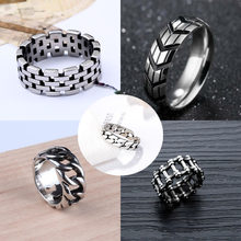 New Cross Border Fashion Ring Jewelry Stainless Steel Men's Tire Print Ring Simple Chain Ring(China)