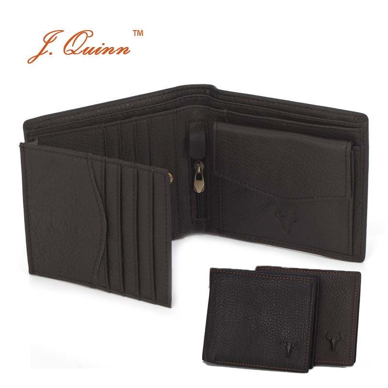 J.Quinn Mens Wallet Cow Leather Genuine 10 Card Trifold Brown European Zipper Small Designer Short Wallets For Men High Quality