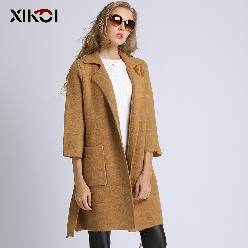 Xikoi Pull Dropshippng Nouveau Automne Décontracté Femelle 2018 raccord Long Cardigan Manteaux Slim Multiples Femmes Black Surdimensionné brown Veste Solide 7Ygyb6vf