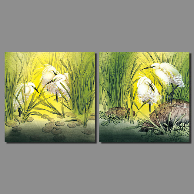 White birds Picture decoration flower green river Aquatic canvas painting plant wall Art living room printed home decor unframed-in Painting & ...