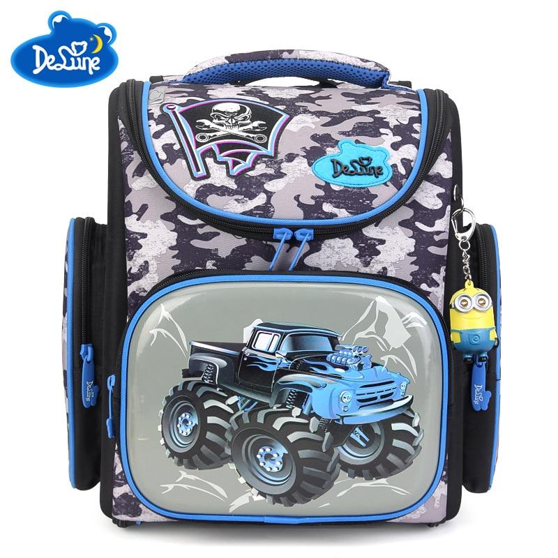 Delune Brand Boys Waterproof Grade 1-3 Schoolbag Children Girls Orthopedic Backpack Cars Mochila Escolar Kids Cartoon School Bag развивающие игрушки oball мячик на присоске
