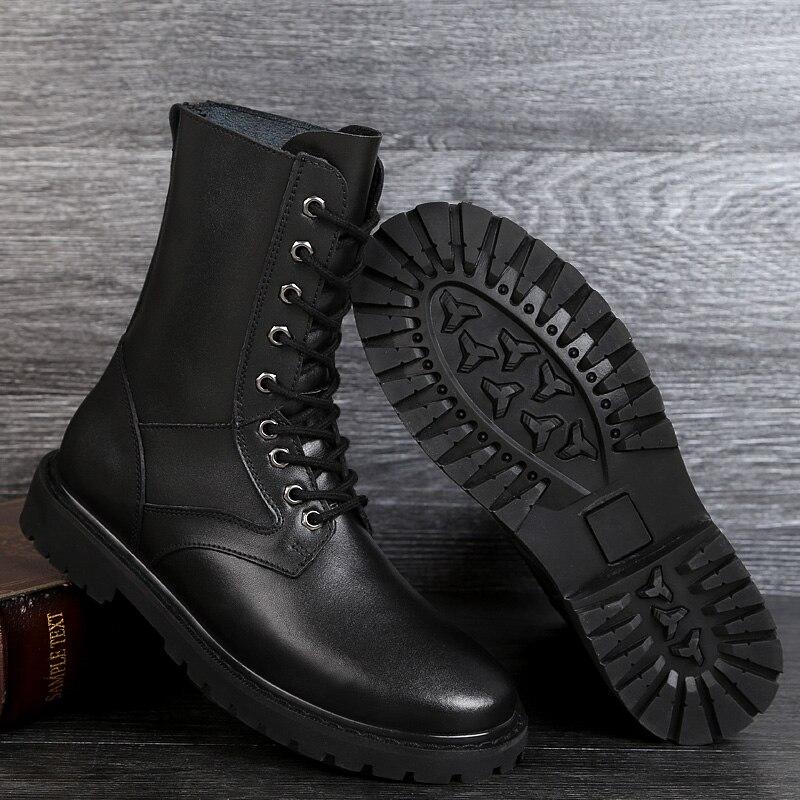 Militaire Taille Black Haute black 46 Mode Chaud Véritable Bottes Cuir Fur 37 Hommes Outillage Confort Moto Qualité Grande En amp; Spéciale Force 6HnHa4