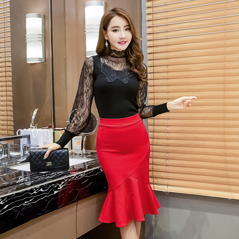 Large size S--3XL 4XL <font><b>5XL</b></font> <font><b>Sexy</b></font> elegant Women's Pack hip <font><b>skirts</b></font> high waist slim ladies trumpet <font><b>skirts</b></font> medium long female <font><b>skirt</b></font> image
