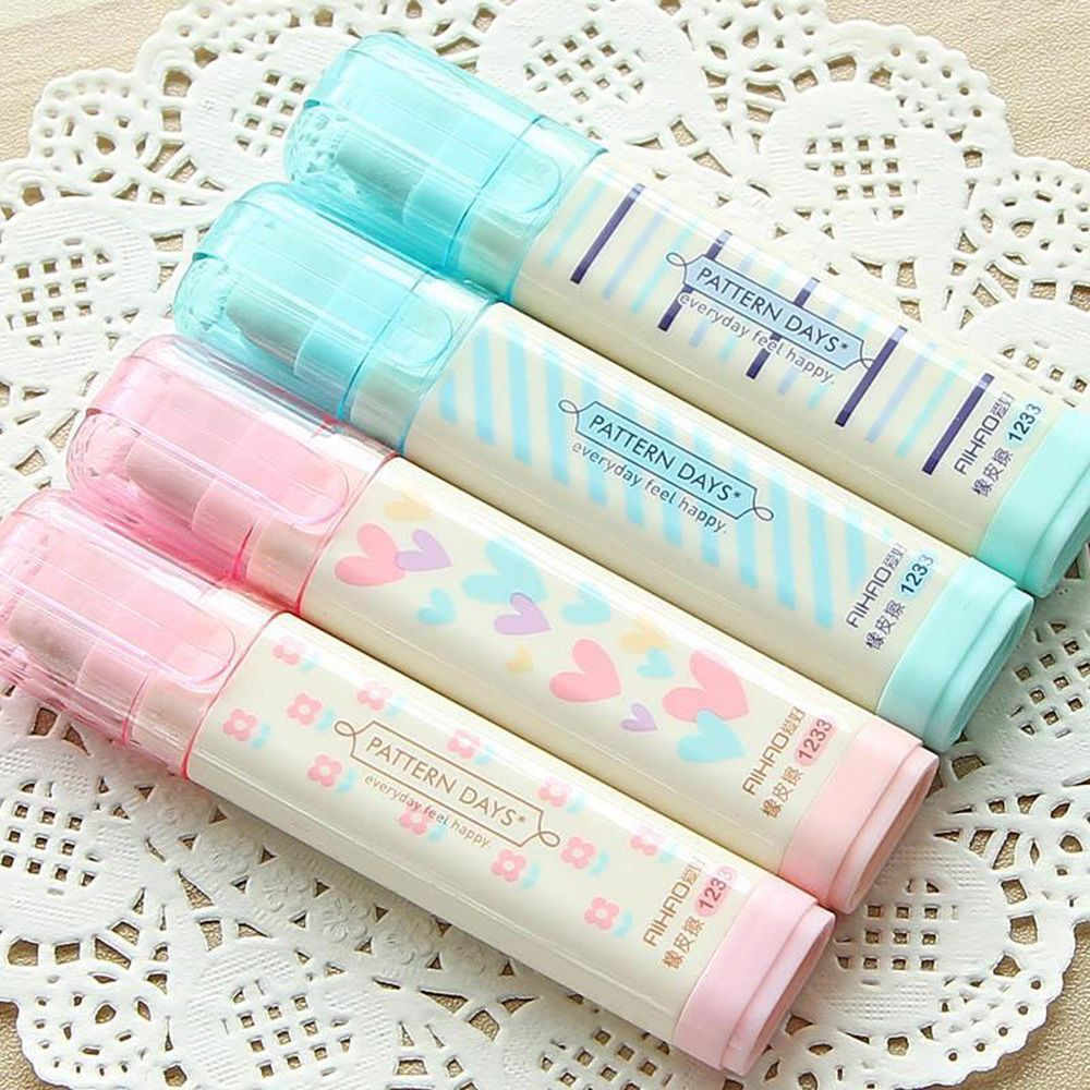 Cute Kawaii Heart Flower Rubber Erasers Lovely Stripe Pencil Eraser Kids Gift Easy Use School Office Supplies