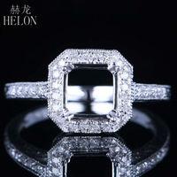 HELON Cushion Shape 7x7mm Solid 14k White Gold Ladies Fine Natural Diamonds Ring Semi Mount Generous