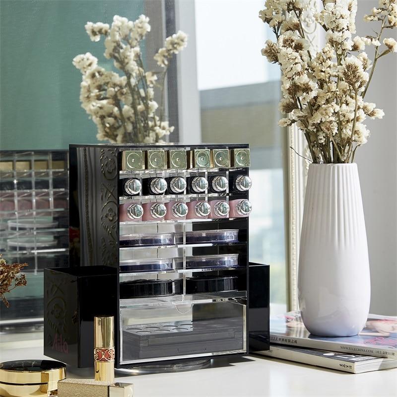 Organizador de maquillaje multifunción acrílico 360 cajas de almacenamiento de cosméticos giratorias con Cajón Negro claro-in Organizadores de maquillaje from Hogar y Mascotas    3