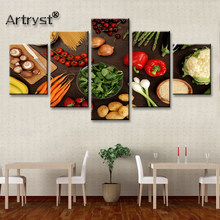 Modern Big 5 Piece Modular Canvas Painting Healthy Vegetable Food Poster HD Printed On Canvas With Frame For Kitchen Wall Decor(China)