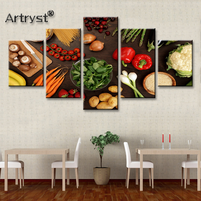 Modern Big 5 Piece Modular Canvas Painting Healthy Vegetable Food Poster HD Printed On Canvas With Frame For Kitchen Wall Decor