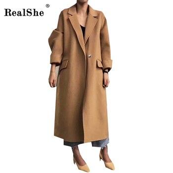 429f399b96f2 RealShe 2018 Sonbahar kadın Yün Ceket Yeni Moda Tek Düğme Uzun Yün Ceket  Rahat Gevşek Kadın Kış Yün Ceket kadın