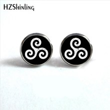 ED-0039 New Arrival Teen Wolf Stud Earrings Steampunk Glass Dome Triskelion Allison Round Earrings Wholesale HZ4(China)