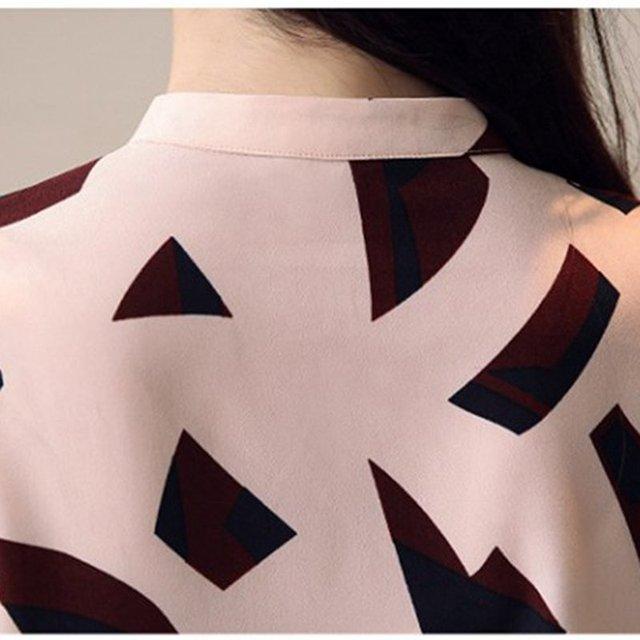 S-XXL Women's Shirts Spring 2020 Fashion Summer V-neck Long Sleeve Blouse Sexy Tops Office Lady Printed Blouses Chiffon Shirts 6