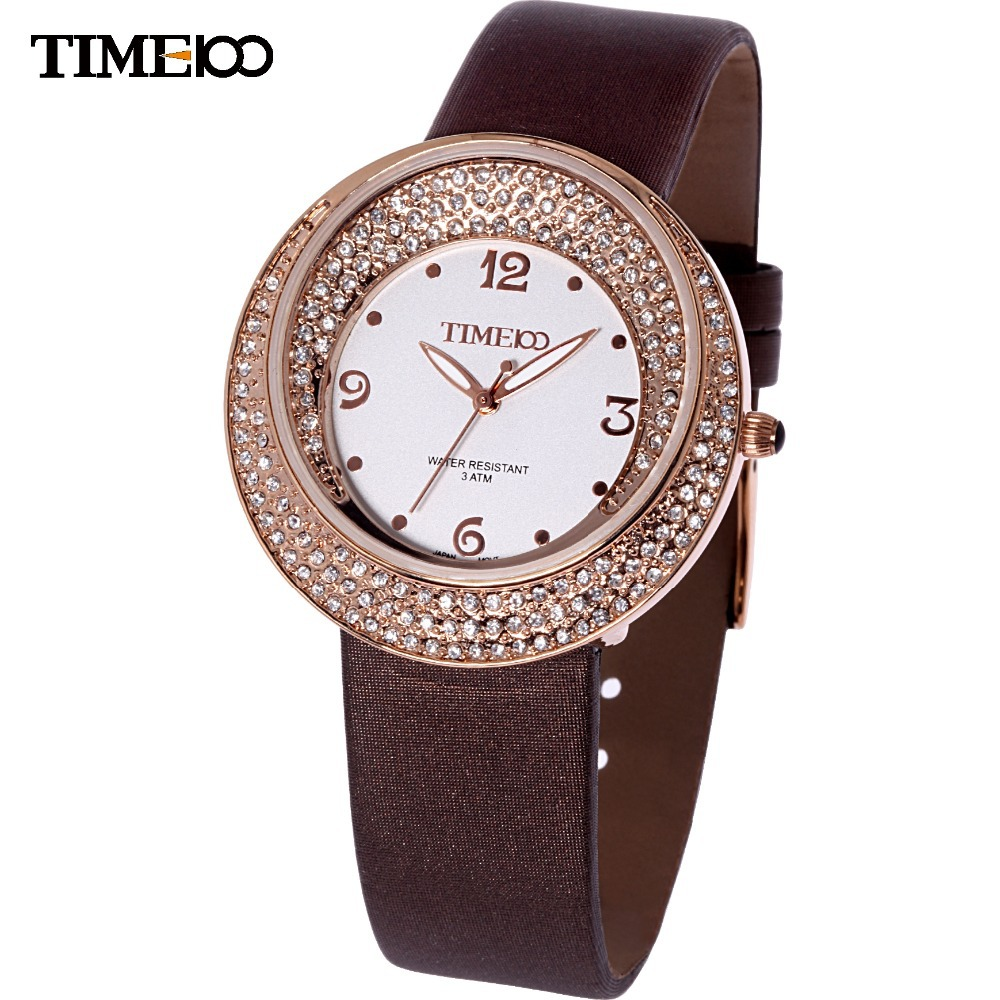 Time100 Luxury Women Quartz Watch Diamond Beautiful Stain Leather Strap relojes de marca Ladies Dress Watch