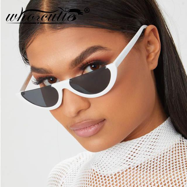 1b871d723 Online Shop 2019 Half Moon Slim Sunnies Sunglasses Women Brand Designer Retro  Vintage Pink Lens Cat Eye Frame Sun Glasses Girls Shades 463B   Aliexpress  ...