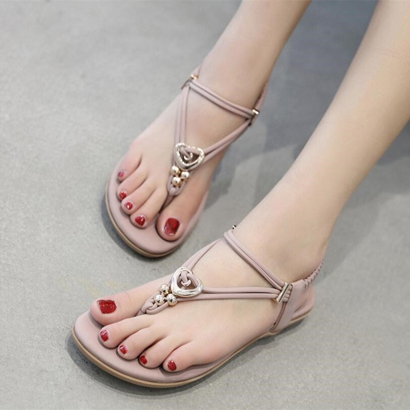 SLHJC Women Sandals Wedges Low Heel Leather Thong Shoes With Metal Rings Beads Style Beach Sand Shoes Comfort Cow Muscle Sole