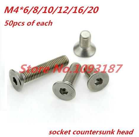 120PCS M4 Allen Bolt Hex Socket Countersunk Stainless Steel 304  Flat Head Screw Assortment Set M4*6/8/10/12/16/20 180pcs m3 steel hex socket head cap screw assortment set 4mm to 20mm length