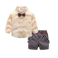 Gentleman Suit Children Clothing Set Baby Boys Clothes Kids Clothes Long Sleeve Solid Shirt Bowknot Suspender