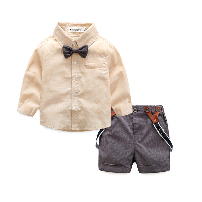 Gentleman Suit Children Clothing Set Baby Boys Clothes Kids Clothes Long Sleeve Solid Shirt+Bowknot +Suspender Shorts 2Pcs/Sets 2pcs children outfit clothes kids baby girl off shoulder cotton ruffled sleeve tops striped t shirt blue denim jeans sunsuit set