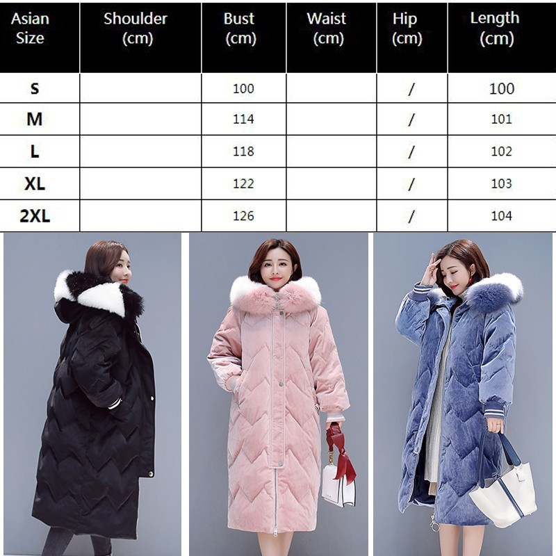 f1271cc9053 2019 Winter Women Parka Plus Size Hooded Velvet Fur Collar Quilted Coat  Long Puffer Jacket Thick Warm Cotton Outwear Okd525 -in Parkas from Women s  Clothing ...