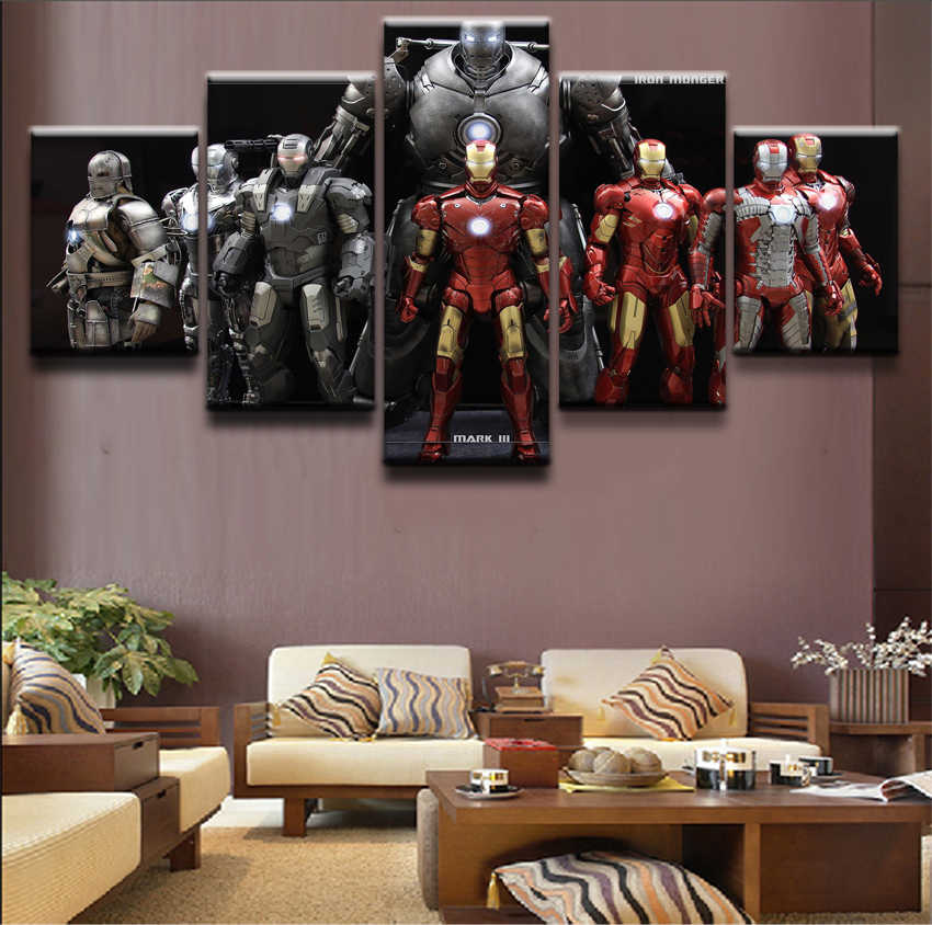 Modern Canvas Wall Art Poster Framework Home Decor For Choldrens Room 5 Pieces Iron Man Movie Pictures HD Printed Painting