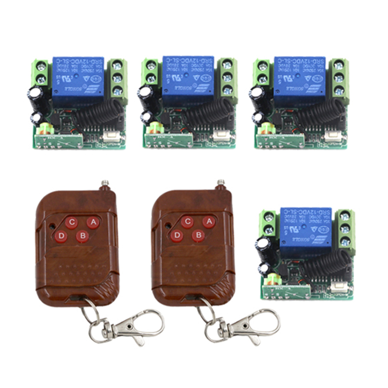 NEW! DC12V 4 Relay CH Momentary Toggle Latched RF Remote Control Switch System, Wireless Receiver&Transmitter LED ON OFF 4270
