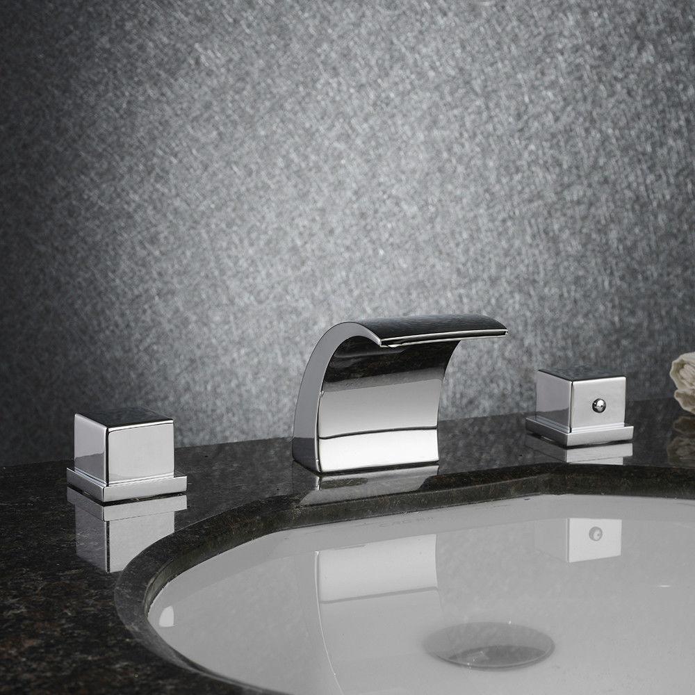 Grifo de cascada de lavabo de baño envío gratis, grifo mezclador de baño de latón extendido, Juego de 3 piezas de cromo Irrigación 2 vías grifo jardín Válvula de riego manguera divisor 2 vías adaptador de conector rápido 1 Uds