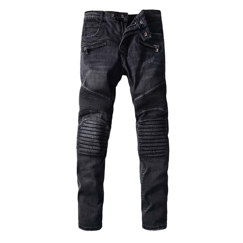 ФОТО 2016 New Black Jeans Men 100% Cotton Brand Designer Mens Jeans Slim Fit Denim Mens Jeans