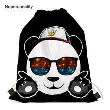 Nopersonality Cute Panda Print Drawstring Bag Black Teenager Girls School Backpacks Small Kids Girls Travel Storage Package