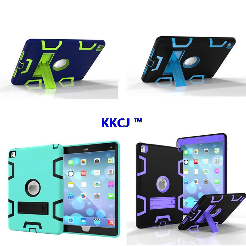 WES Armor Dual Layer Heavy Duty Protection Back KickStand Case Kids Safe Cover For Apple iPad Air 2  For New Ipad pro 9.7 inch shockproof case for ipad pro 10 5 military duty armor kickstand pc silicone stand cover case for apple ipad pro 10 5 inch tablet