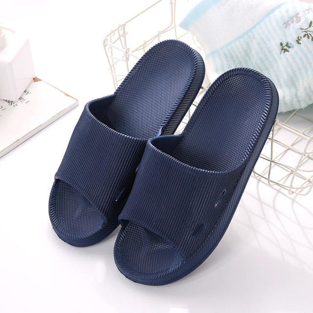 a5ddbe33dd1 2019 new Japanese four seasons bathroom EVA slippers man summer couple  solid color stripes non-slip soft bottom home indoor