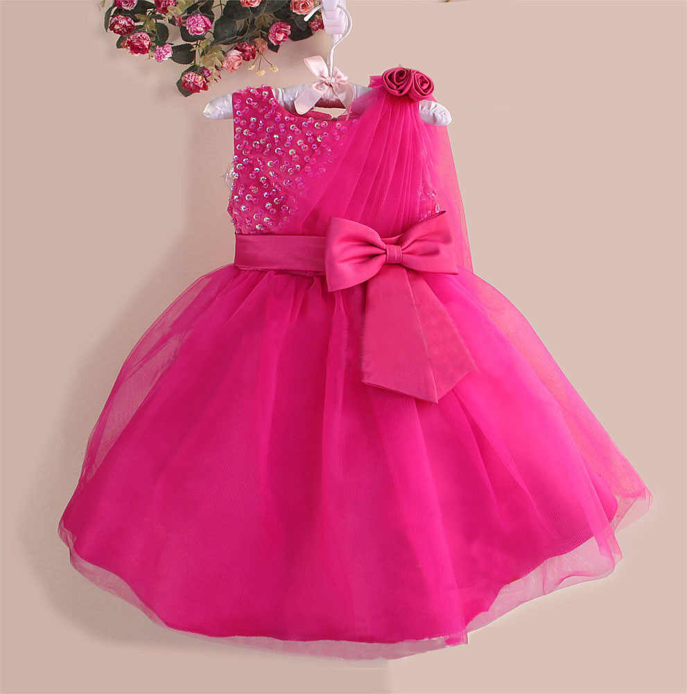2017 summer flowers girls formal sequined bow mesh party princess ...