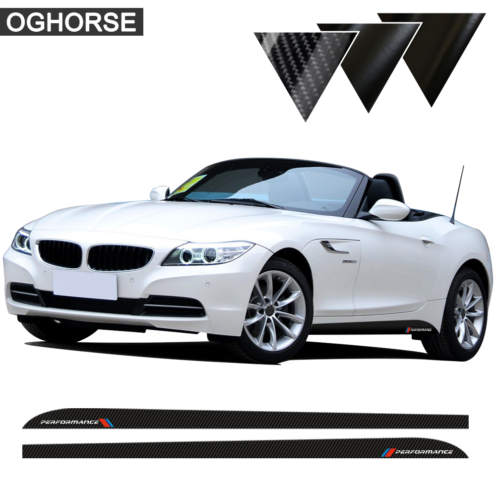 2 pcs M Sport Performance Side Skirt Sill Stripe Vinyl Decal Stickers for BMW Z4 E85 E86 E89 5D Carbon Fibre Vinyl Accessories