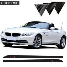 2 sztuk M Sport wydajność boczna dokładka pasek winylowa tablica naścienna naklejki do BMW Z4 E85 E86 E89 5D Carbon fiber Vinyl akcesoria